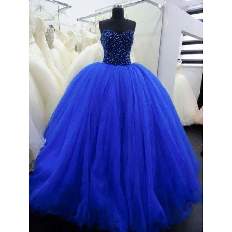 2018 bleu Royal Quinceanera robes chérie perlée mascarade robes de bal doux 16 robes volants bouffantes Tulle robe de soirée