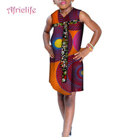 Children African Clothes Sleeveless Dresses for Kids Girls Africa Print High Waist with Bowknot Cute Girl Party Dress WYT237