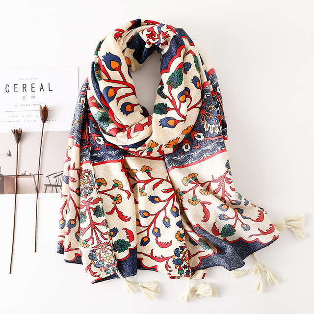 ec0570c2a Women Cotton Large Foulard Floral Vine Winter Warm Scarves for Female Navy  color Soft Blanket Wrap
