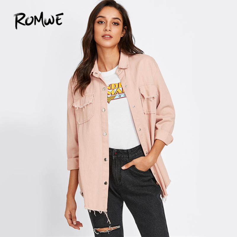 ROMWE Sweet Pink Denim Jacket Frayed Curved Hem Women Casual Long Sleeve Coat Fall  Fashion Button Up Pockets Lapel Jacket