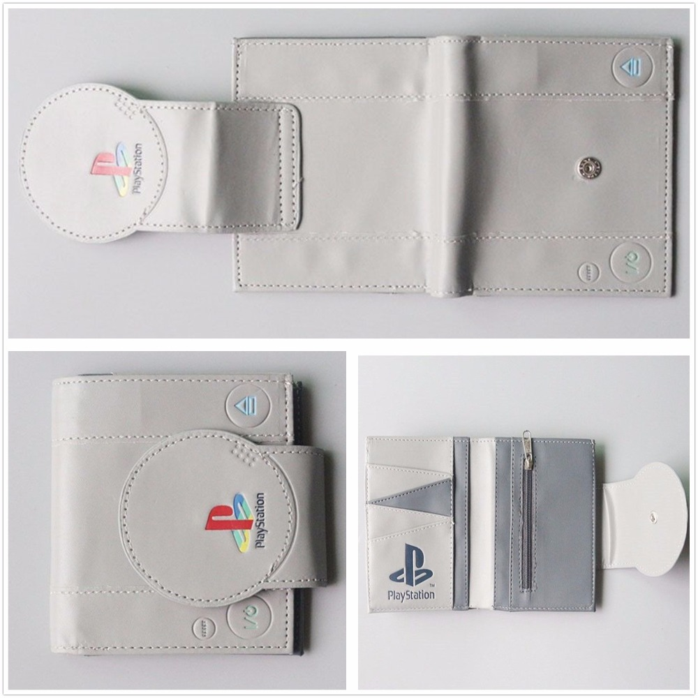Play station Men Wallet PU Purse PS1 Bi-Fold New Game Handle Playstation W962Q