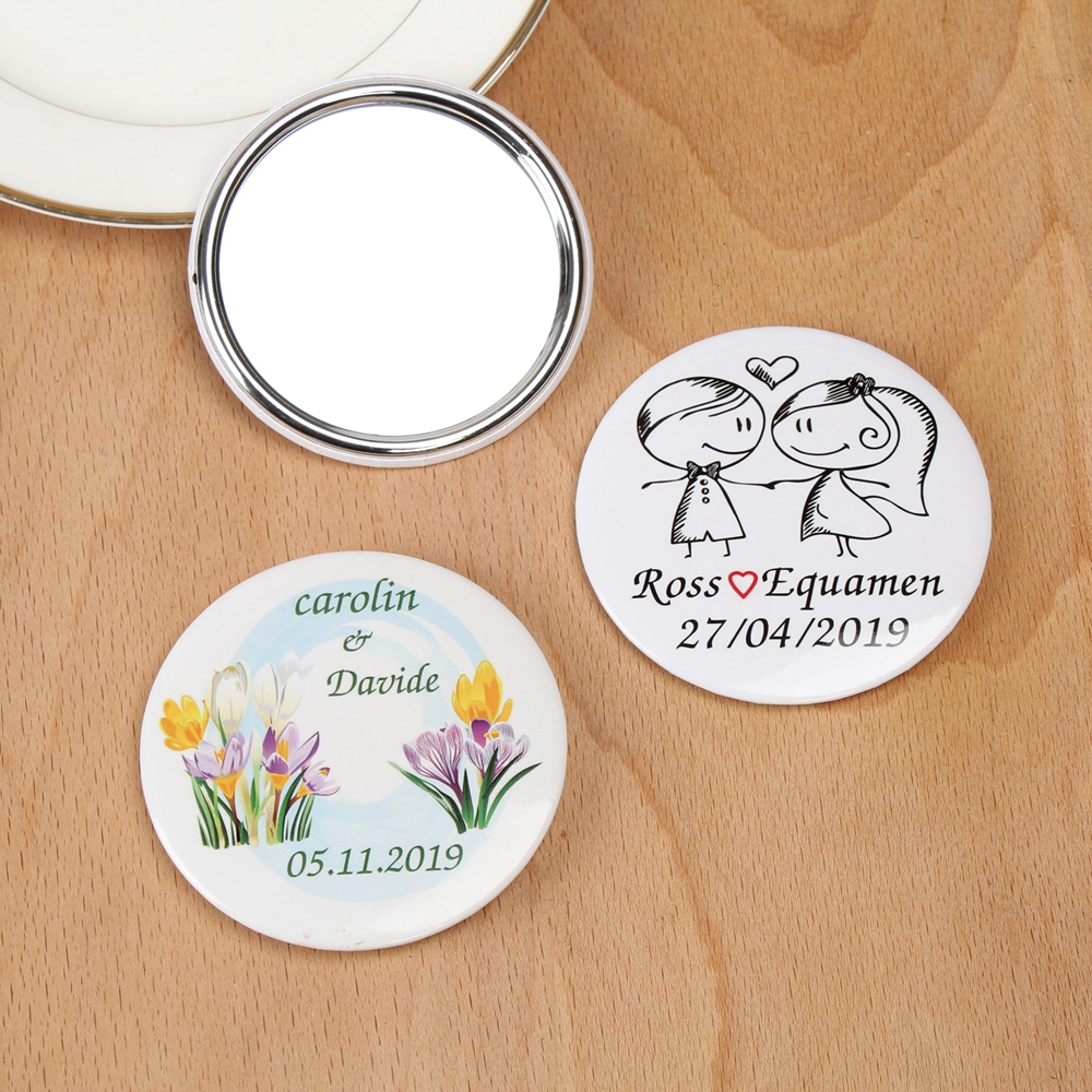 Diameter 75mm Custom name date Pocket Mirror Personalized logo Wedding Makeup Mirror wedding Party Favor Gift for Guests