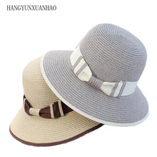 2019 New Summer  Foldable Wide Brim Beach Women Sun Straw Hat Elegant Cap For UV Protection Bow Hats Girls Hot