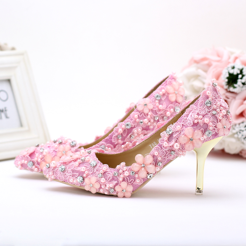 Fresh pink pearl lace flower princess bride shoes ultra high heels thin heels wedding shoes font