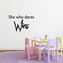 Diy she who dares wins Vinyl Wall Sticker Home Decor Stikers For Kids Rooms Waterproof Wall Art Decal who dares wins