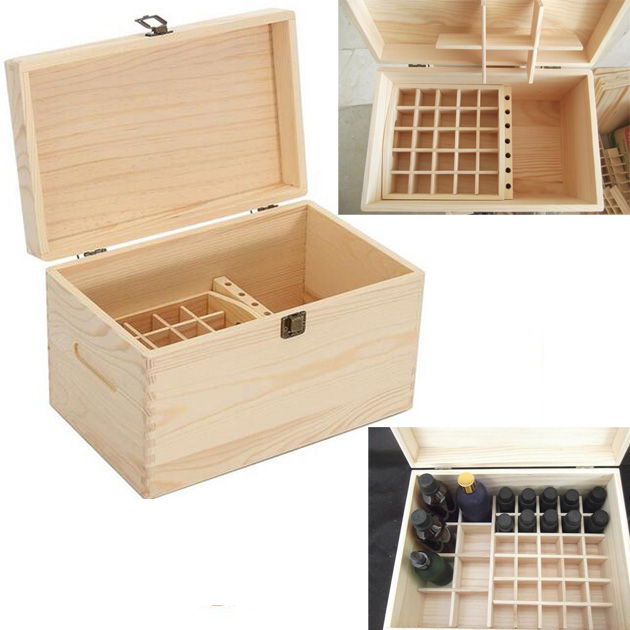56 Grids Essential Oil Bottles Aromatherapy Container Carry Jewelry Wooden Organizer Storage Box Metal Lock Treasure Box Case