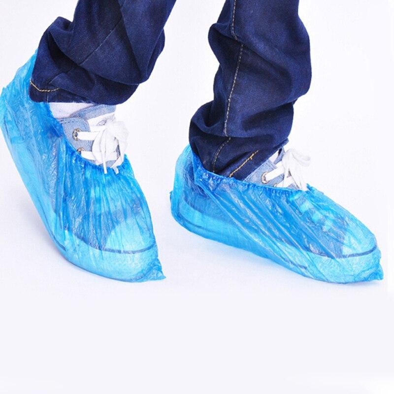 40 Stücke Kunststoff Einweg Schuh Überschuhe Regen Schuh Deckt Schlamm-proof Blau Farbe Medizinische Wasserdicht Boot Deckt Volumen Groß Schuhe