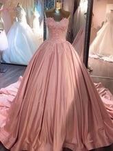 Pink Ball Gowns Wedding Dresses 2020 Sweetheart Neck Appliques Lace Bridal Gowns Elegant Lace Up Chapel Train Vestidos de Noiva lace up front sweetheart neck plaid bandeau top