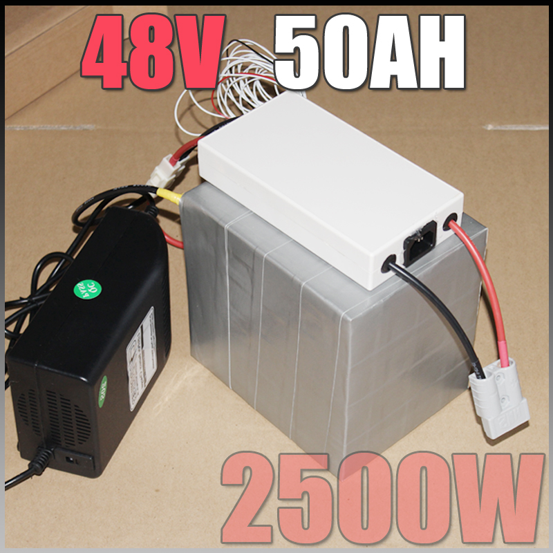 48V 50Ah LiFePO4 Battery Pack ,2500W Electric Bicycle Battery + BMS Charger 48v lithium scooter electric bike battery pack free customs taxes super power 1000w 48v li ion battery pack with 30a bms 48v 15ah lithium battery pack for panasonic cell