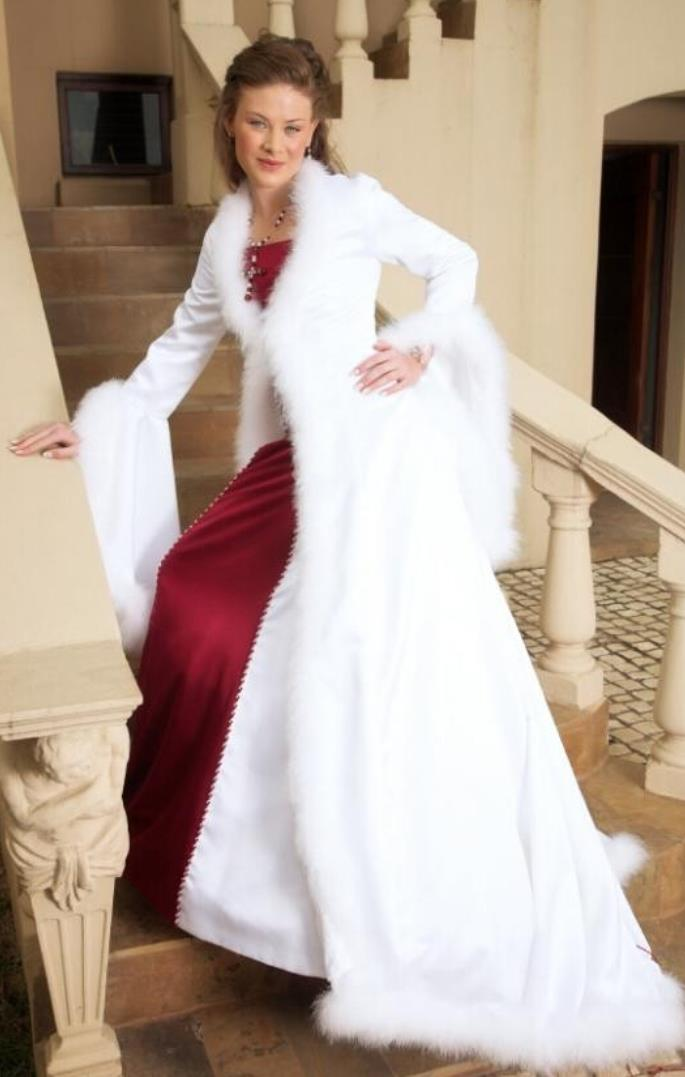 red and white 2017 winter wedding dresses with faux fur