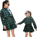 Hija de la madre Vestidos de Moda de Manga Larga A Cuadros Ropa Vestido de Ropa de la Familia de Madre E Hija Familia Juego Mirada tyh-50334