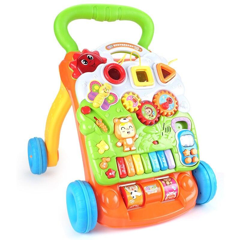 Trotteur bébé Assistant de marche multifonctionnel bambin chariot assis-sur-pied marcheur pour l'apprentissage précoce des enfants avec vis réglable
