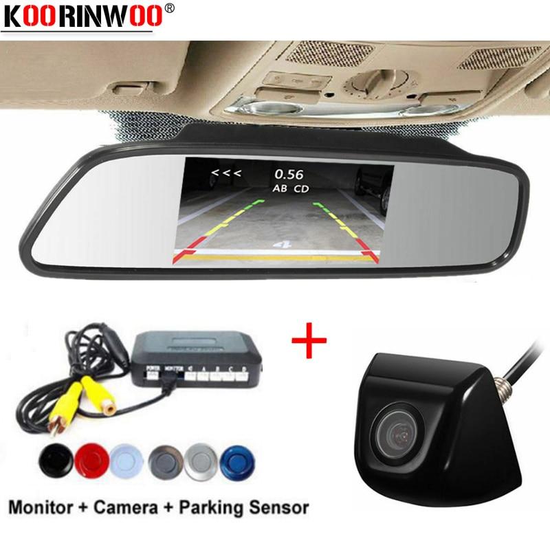 Koorinwoo Parkronic 4 Radars Car Parking Sensors Tracks Car Rear View Camera Reverse With HD Mirror