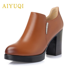 AIYUQI 2019 spring new 100% natural genuine leather high heel womens shoes on the platform party female size 34