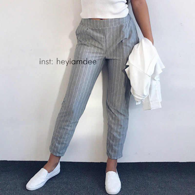 98fd64fd45 Las mujeres pantalones de rayas de Primavera de 2019 de moda de verano  Mujer elástico cintura