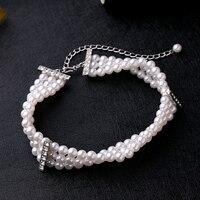 Wide Triple Row Beads Imitation Pearl Collar Bridal Necklace Short Choker Wedding Jewelry