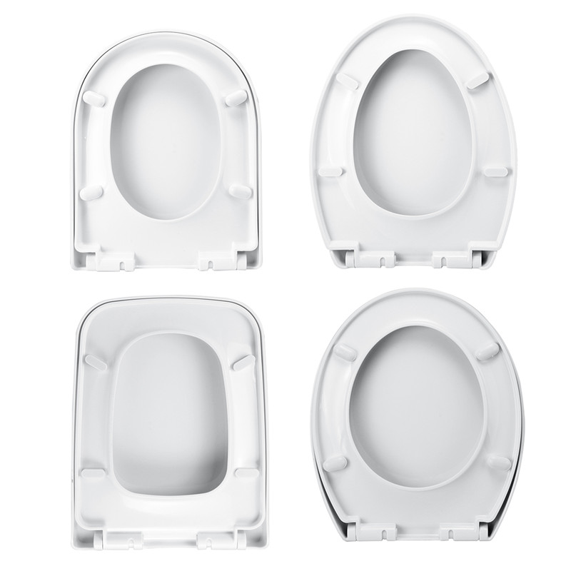 Xueqin PP Thicken Replacement Universal Slow-Close Toilet Seat Lid Cover Set White Household 4Types Antibacterial Square Round