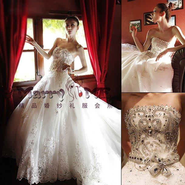 2013 New Bride Clothing Big Train Stunning Wedding Dresses