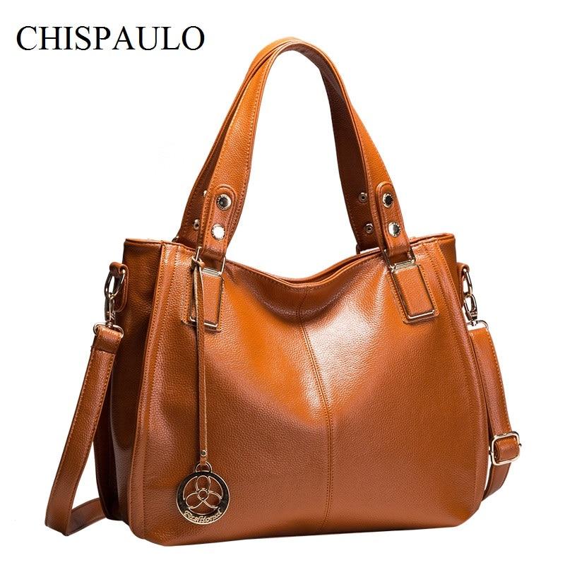 CHISPAULO Women Genuine Leather Handbags Luxury Brand Women Designer Handbags High Quality Fashion Women's Shoulder Bag Lady X21