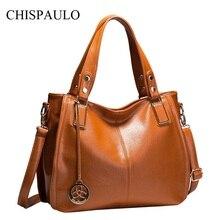 CHISPAULO Mujeres de Lujo Bolsos de Cuero Genuino Mujeres de la Marca de Bolsos de Diseño de Alta Calidad de La Manera de Las Mujeres Del Hombro Bag Lady X21
