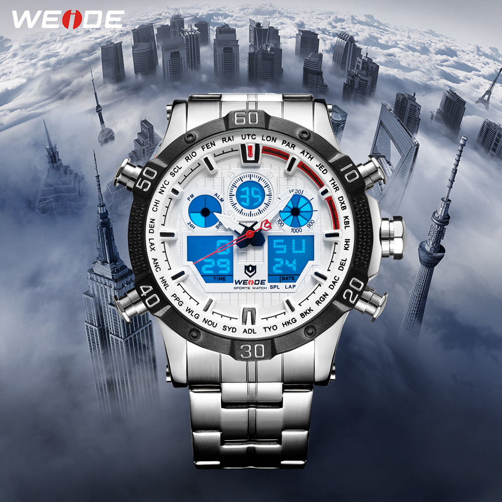 WEIDE Quartz Sports Wrist Watch Casual Genuine 2019 Men Watches  Brand Luxury Men Watch Stainless Steel Date Digital Led Watch