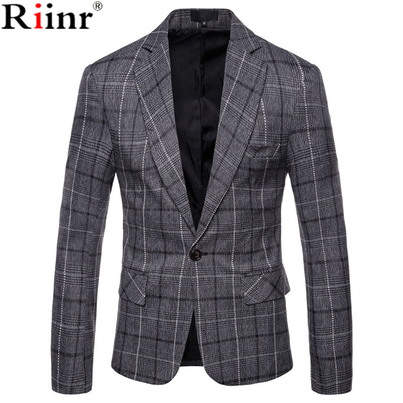 Riinr 2019 Winter Fashion Men's Leisure Long Sleeve Suit Coat High-Grade Male Slim Fit Grid Comfortable Blazers Leisure Suit
