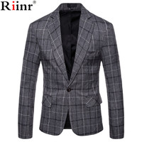 Riinr 2019 Winter Fashion Men's Leisure Long Sleeve Suit Coat High Grade Male Slim Fit Grid Comfortable Blazers Leisure Suit