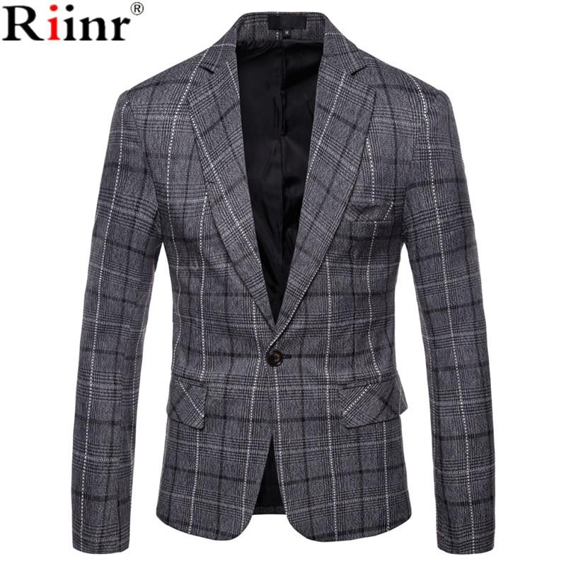Riinr 2019 Winter Fashion Men's Leisure Long Sleeve Suit Coat High-Grade Male Slim Fit Grid Comfortable Blazers Leisure Suit