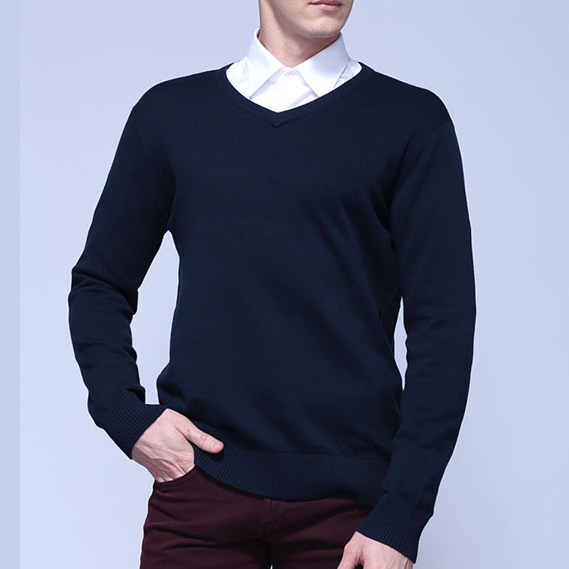 100% Cotton Spring Autumn New Male long sleeve v-neck knitting sweaters solid color mens casual sweaters fashion slim mens tops