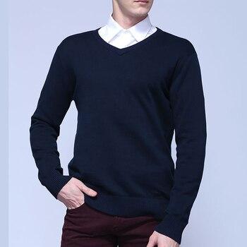 100% хлопок Демисезонный Новый Мужской Длинные рукава v-образным вырезом вязаные свитера сплошной цвет Мужские Повседневные свитера модные т...