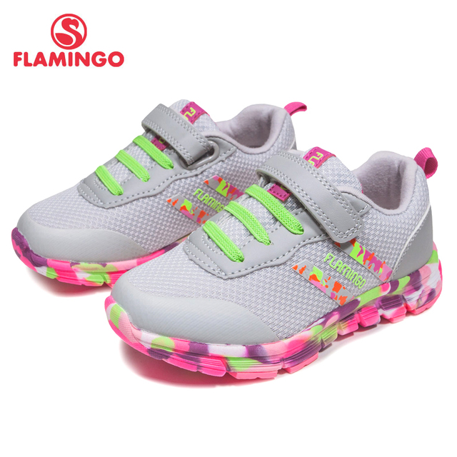 FLAMINGO 2017 Russian Brand Fashion size 24-30 Comfortable Spring &Autumn Breathable Hook &Loop sneakers for girl 81K-JSZ-0611