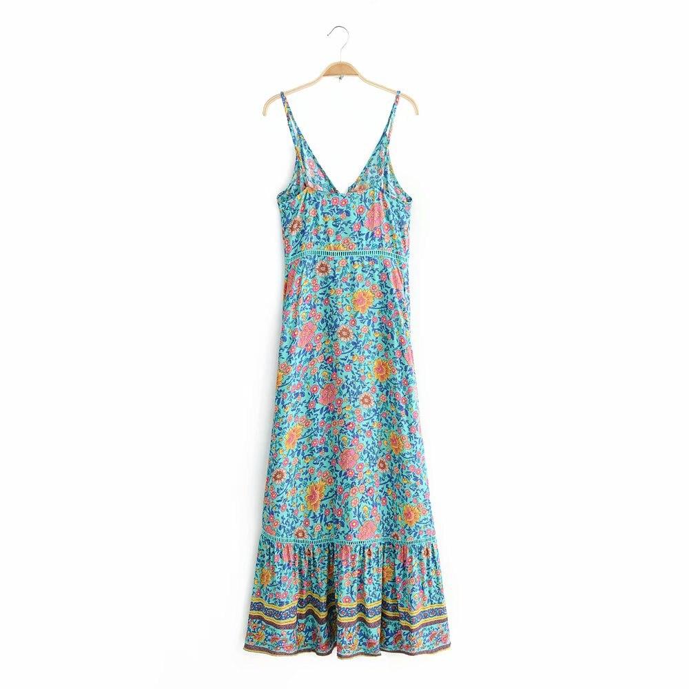 Womens Tube Top V-neck Strapless Sling Mini Dress Floral Pattern Elastic Band Bust Chic Design Dress 2019 Womens Dress Women's Clothing