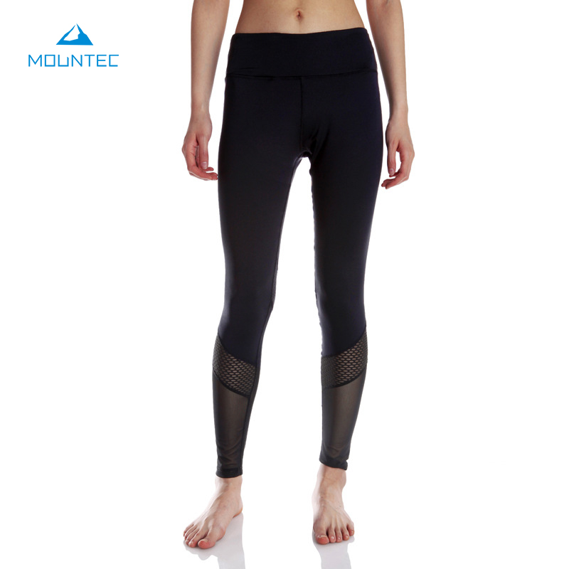 MOUNTEC Women Yoga Compression Pants Leggings Pants Elastic Tights Sexy Yoga Capri With Pocket for Workout Gym Jogging
