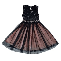 Fashion Summer Girl O Neck Sleeveless Sequined Bow Ball Gown Party Dresses