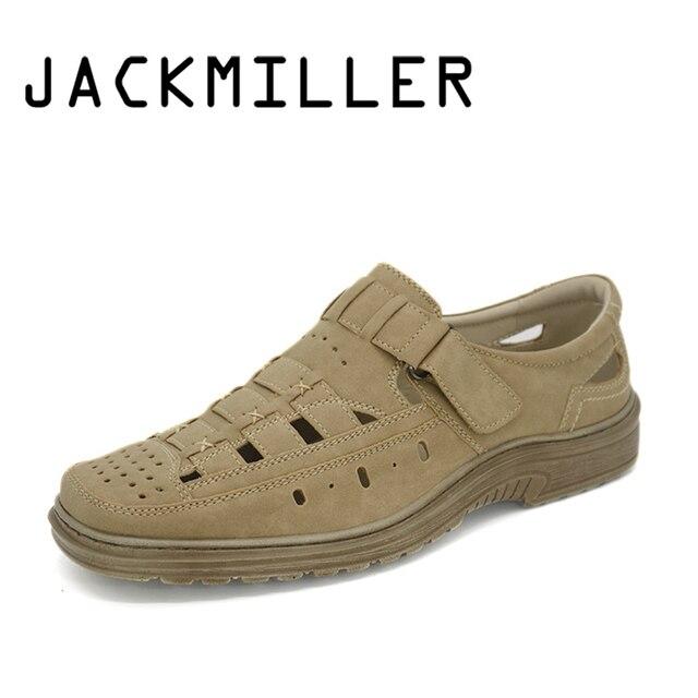 Jackmiller Top di Marca Uomini di Estate Sandalo Peso Leggero E Traspirante Appartamenti Sandali degli uomini Della Cinghia di Estate Beige Colore Formato Caldo di Vendita 40-45