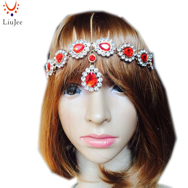 Online Shop Simple Red & Clear Kundan Indian Bridal Head chain ...