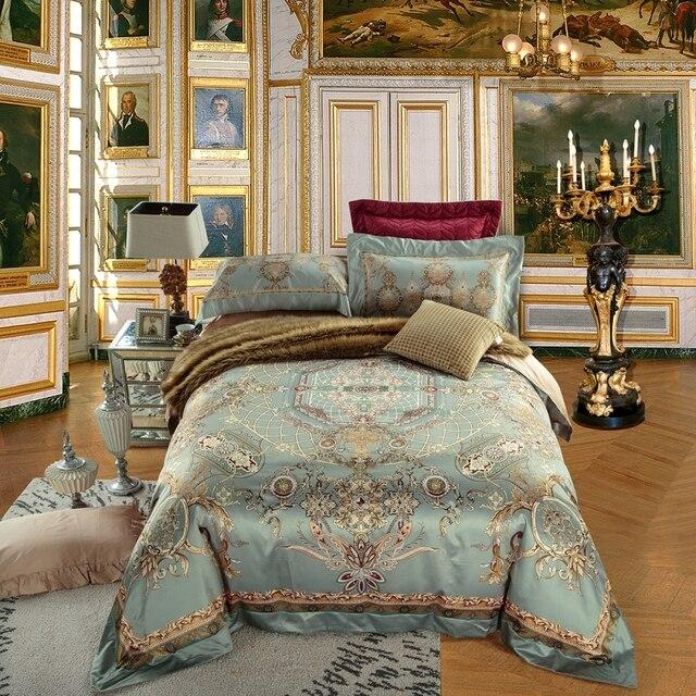 Luxury jacquard cotton stain Bedding Set  4/6Pieces King Queen Size bedroom Duvet Quilt Cover Set Bedspread set Pillowcases