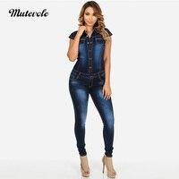 Mutevole Cap Sleeve Denim Jumpsuit Rompers Women Bodycon Jeans Jumpsuit Denim Button Pocket Casual Summer Overalls Long Trousers