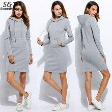 Winter Dress Women 2018 Casual Pencil Bodycon Dress Vestidos Solid Long Sleeve Slim Hooded Sweatshirts Dresses Plus Size XXL