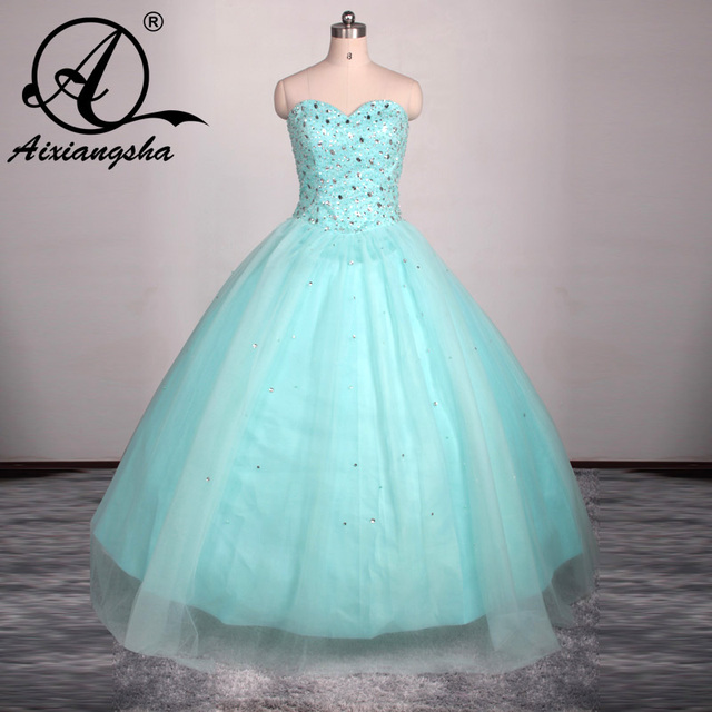 Sparkly Ball Gown Crystals Corset Puffy Tulle 2016 Turquoise Quinceanera  Dresses For Girls 15 Years Masquerade Debutante Gown c82c92c7b9f1