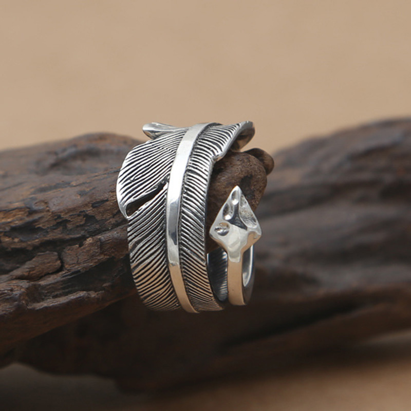 925 Sterling Silver Goro's Ring Classical Feather With Feather Ring Originality For Women Men Party GQR028 charming flower feather party hairband for women
