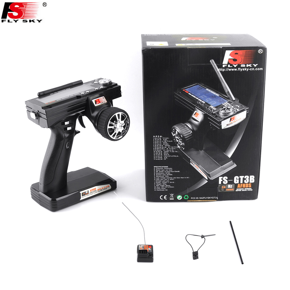 Flysky FS-GT3B 2.4G 3CH Gun RC System Transmitter with FS-GR3E Receiver For RC Car Boat with LED Screen fs gt3b 2 4g 3ch rc system transmitter with receiver for rc car boat with lcd screen no batteries