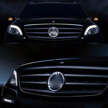 LISIDIC Car LED Front Grille Logo Light for Mercedes Benz w204 w205 18cm/19cm white light luces led para auto accessorie цена
