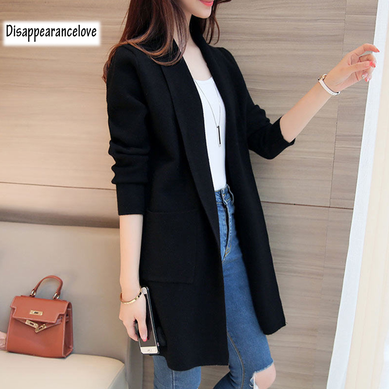 DRL Women's Autumn Winter Cardigan Sweater and Long Sections Wool Sweaters Slim Tight Bottoming Knitted Cardigans 1