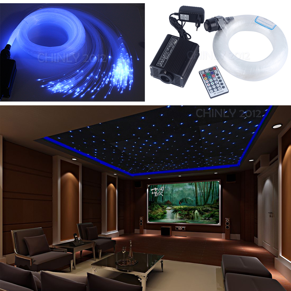 16W RGBW LED Fiber Optic Engine Kit Ceiling Star Light 200pcs 2m 1.0mm Fiber Optical Cable with 28key RF Remote for Decoration dmx 16w rgbw led plastic fiber optic star ceiling kit lights 200pcs 0 75mm 2m optical fiber lighting 28key rf remote