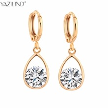Здесь можно купить   YAZILIND Trendy Long Drop water  Earrings for Women Gold-color Piercing Earring Pink CZ Zircon Crystal Wedding Jewelry Fashion Jewelry