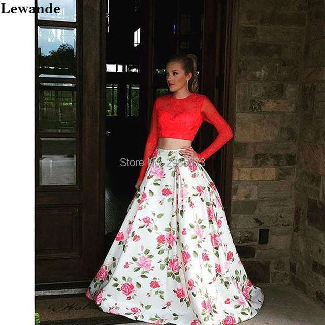 Online Shop Lewande Floral Print 2 Piece Bridesmaid Dress Beaded Lace Long  Sleeve Open Back Satin Pageant Gown for Prom A-line Flower Skirt  632e83041d86
