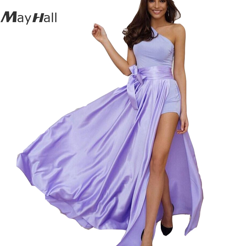 MayHall Bow Summer 2018 Faldas Mujer Long Skirt Women Asymmetric Side Split Maxi Skirts Casual Beach MH035