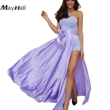 MayHall Bow Summer 2018 Faldas Mujer Long Skirt Women Asymmetric Side Split Maxi Skirts Casual Beach MH035