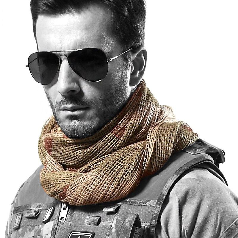 100% QualitäT Sommer Military Schals Camouflage Taktische Mesh Dschungel Maske Schal Sniper Gesicht Schleier Vielseitig Airsoft Camping Jagd Schals